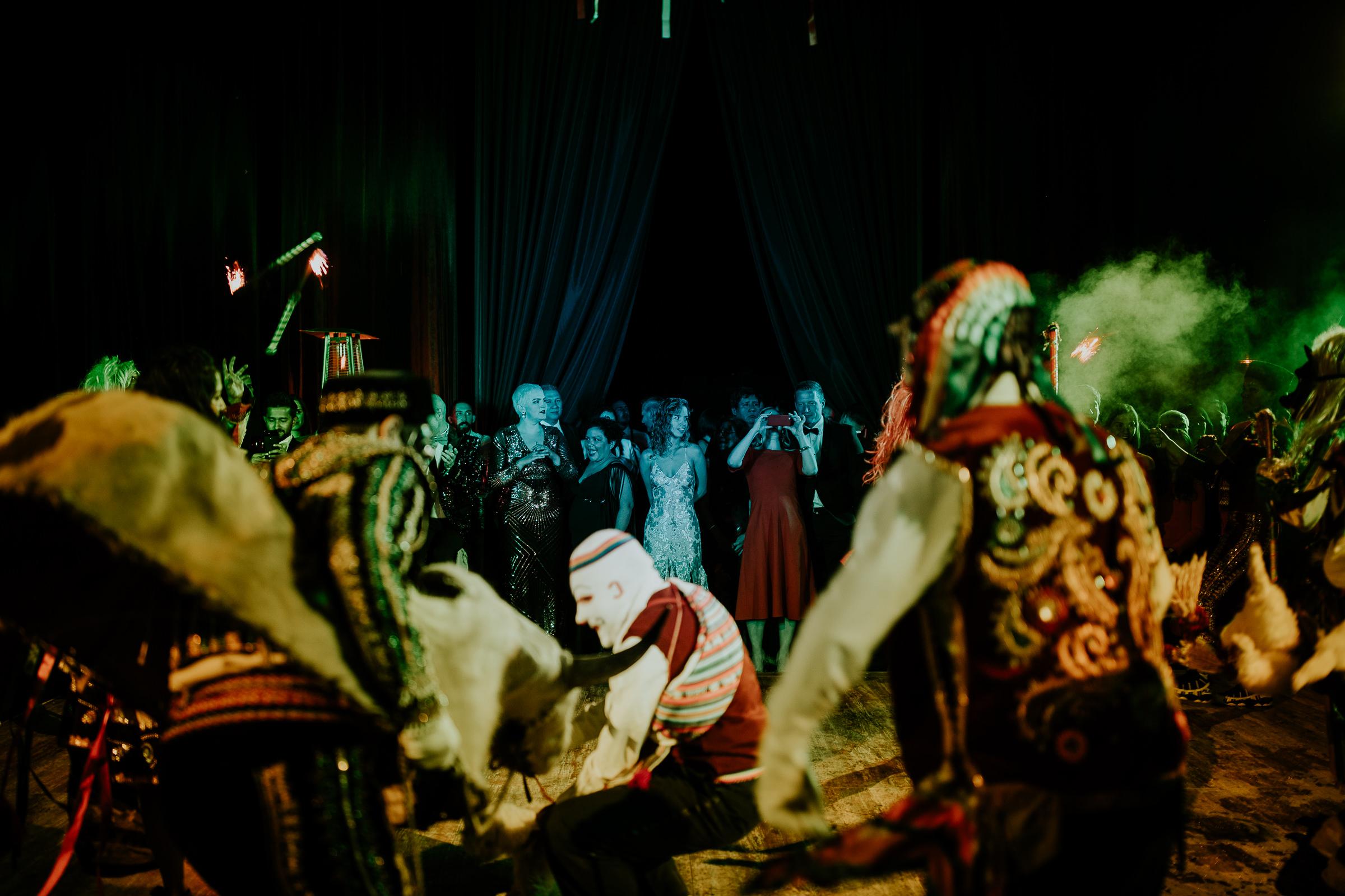clowns at a wild party on a peru destination wedding