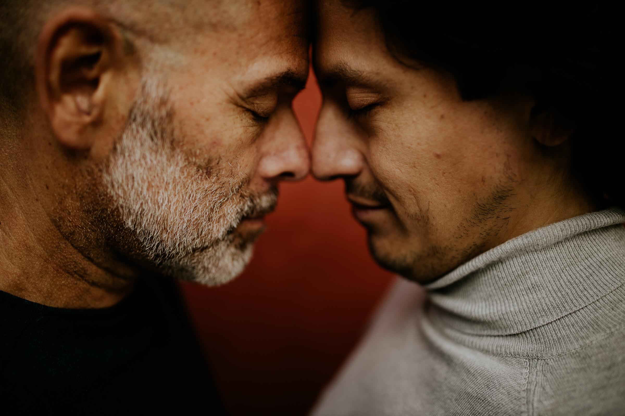 two men eyes closed