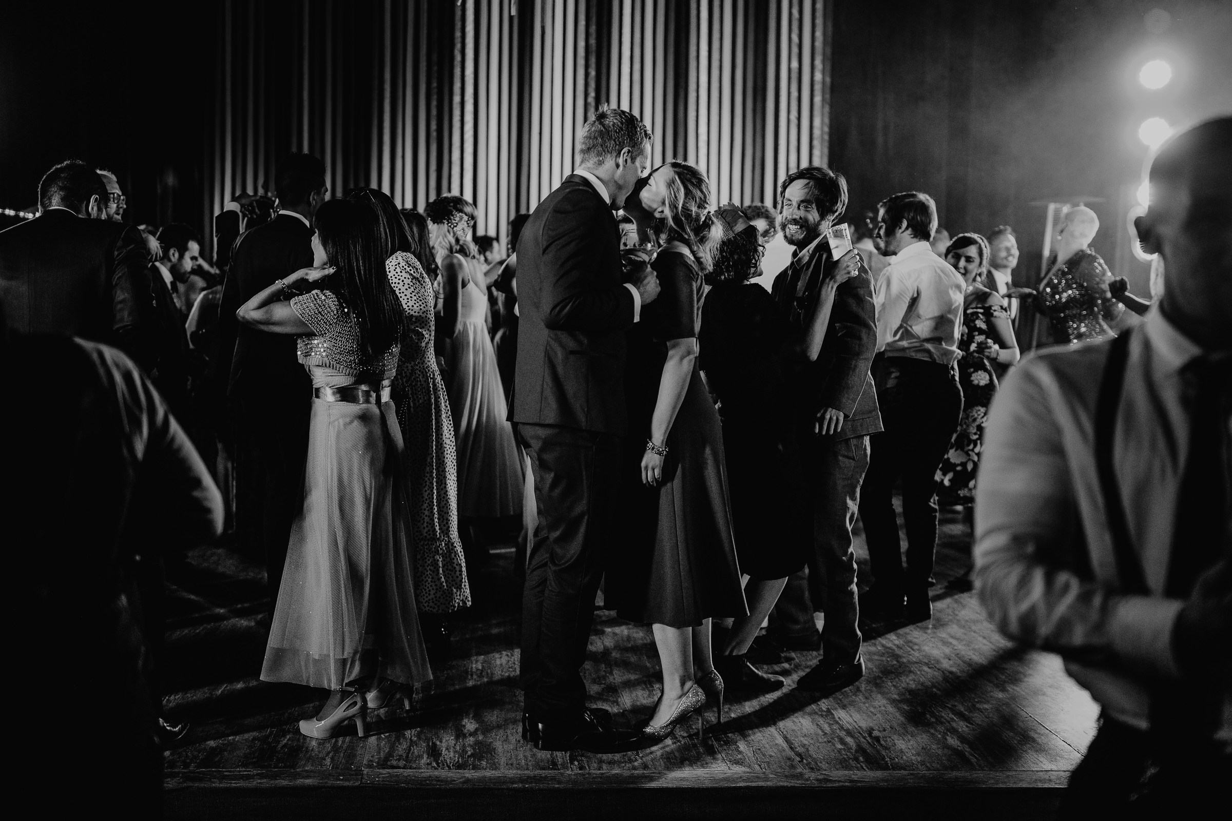 black and white photo of a wedding party