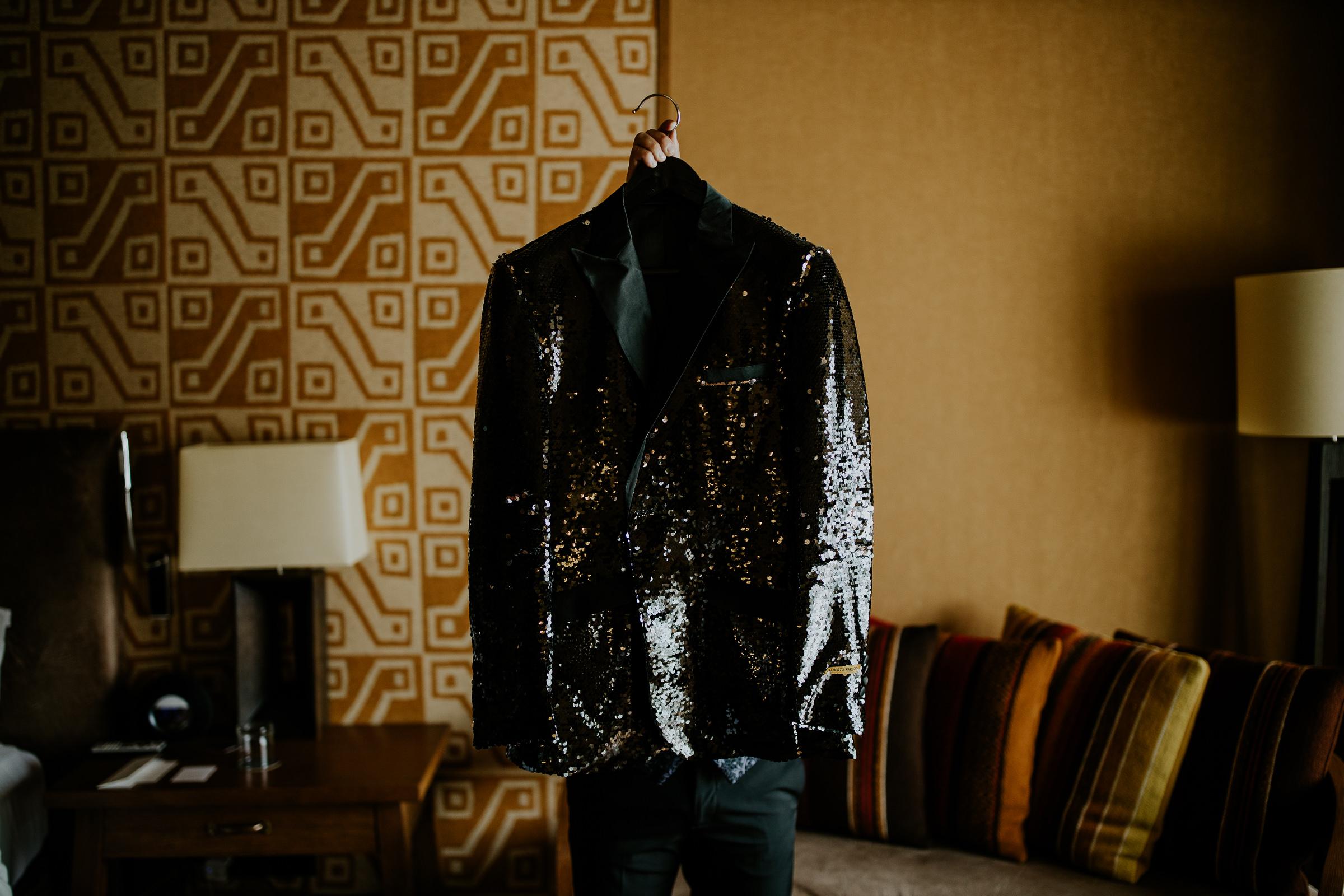 grooms shiny jacket