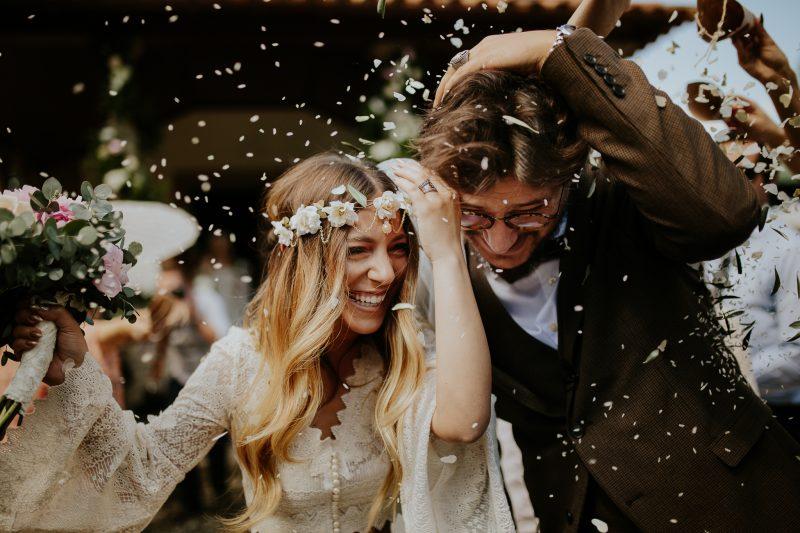 bride and groom celebration after destination wedding in lisbon